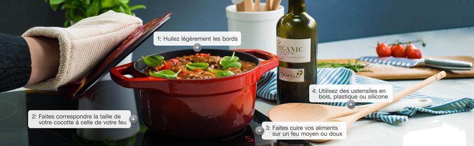 guide entretient instructions conserver nettoyer cuisiner casserole cocottes fonte émaillée procook