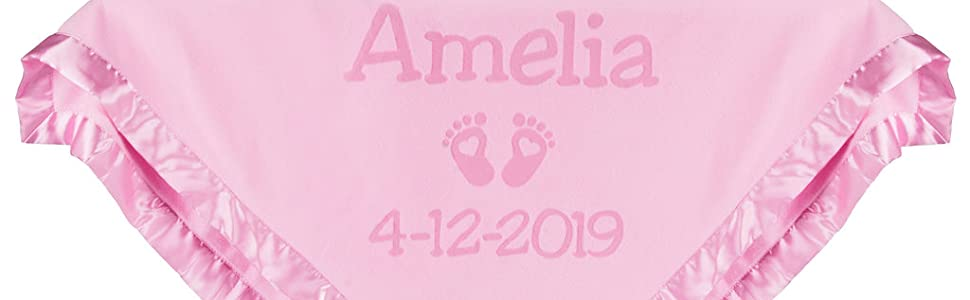 Pink newborn baby blanket feet heart design with birth date