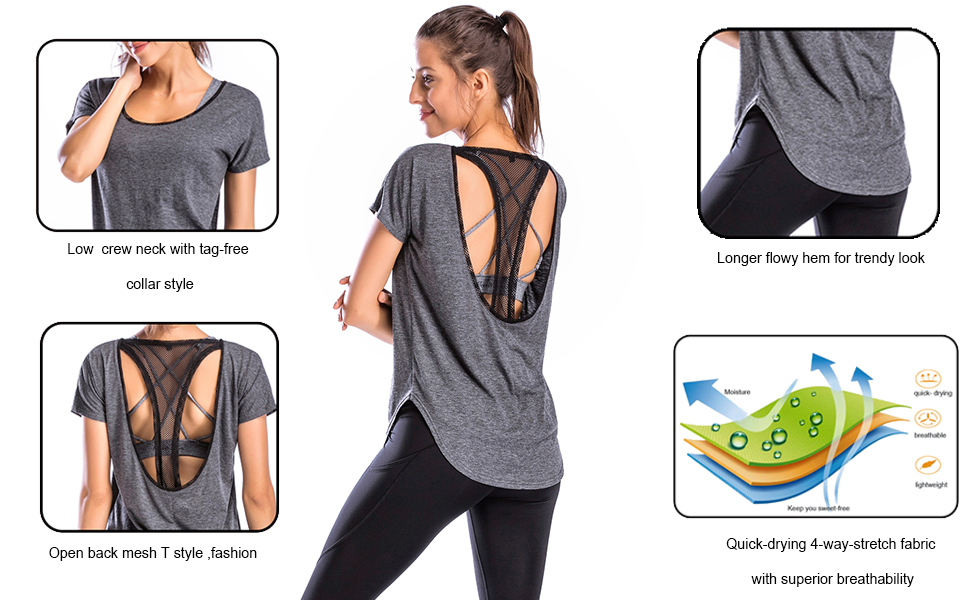 Kate Kasin Women Workout Clothes Color Block Tops Exercise Gym Shirts Running Shirt Top
