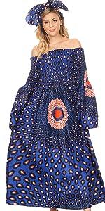 long sleeve chanbray african ankara wax flared loose ruffle elastic pockets casual formal event nice