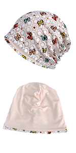 white lace beanie sleep hat dirty hair cap indoor hat for ladies