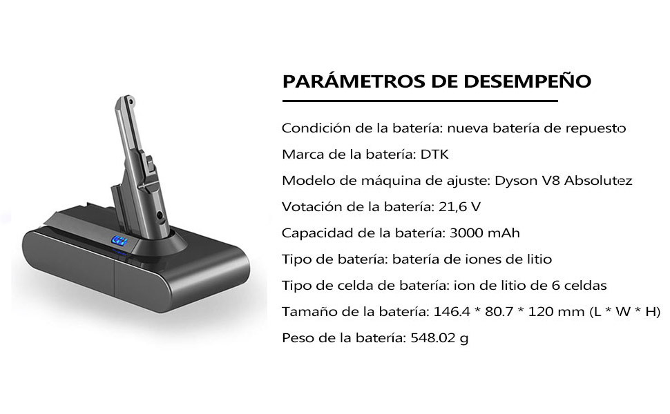 DTK Batería de Repuesto 21.6V 3000mAh para Dyson V8 Absolute Cord-Free Vacuum Handheld Vacuum Cleaner: Amazon.es: Hogar