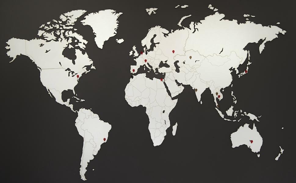 MiMi Innovations - Decoración de pared de mapa del mundo de madera de lujo 130 x 78 cm - Blanco: Amazon.es: Hogar