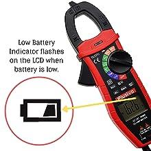 Low battery indicator clamp meter