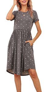 polka dot summer casual midi dress