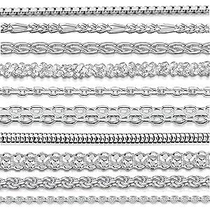 Amberta Joyería - Collar - Fina Plata De Ley 925 - Cadena de Bola - 1.1 / 3.2 (mm)