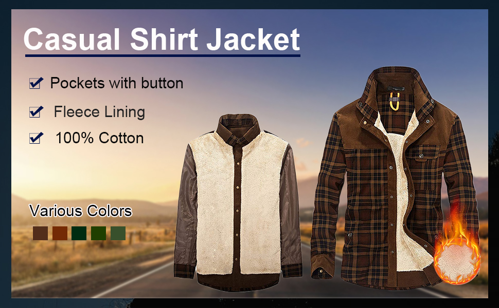 Flygo Men's Vintage Plaid Thickened Sherpa Lined Button Down Long Sleeve Shirt Jacket