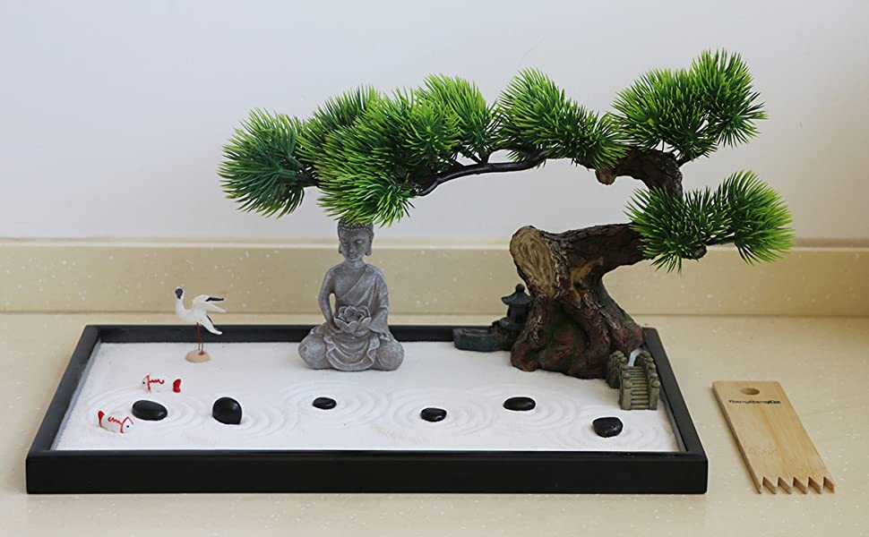 Amazon Com Japanese Tabletop Meditation Zen Garden Gift Tabletop Rock Sand Meditating Garden Bridge Bamboo Rakes Bonsai Tree Plant Pagoda Accessories Tools Kits Office Home Desktop Relaxation Sandbox Decor Toys Games