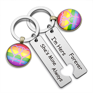 LGBT Keychain Set Gay Pride Rainbow Gift Gay Lesbian Couples Jewelry Set Wedding Gift for LGBT