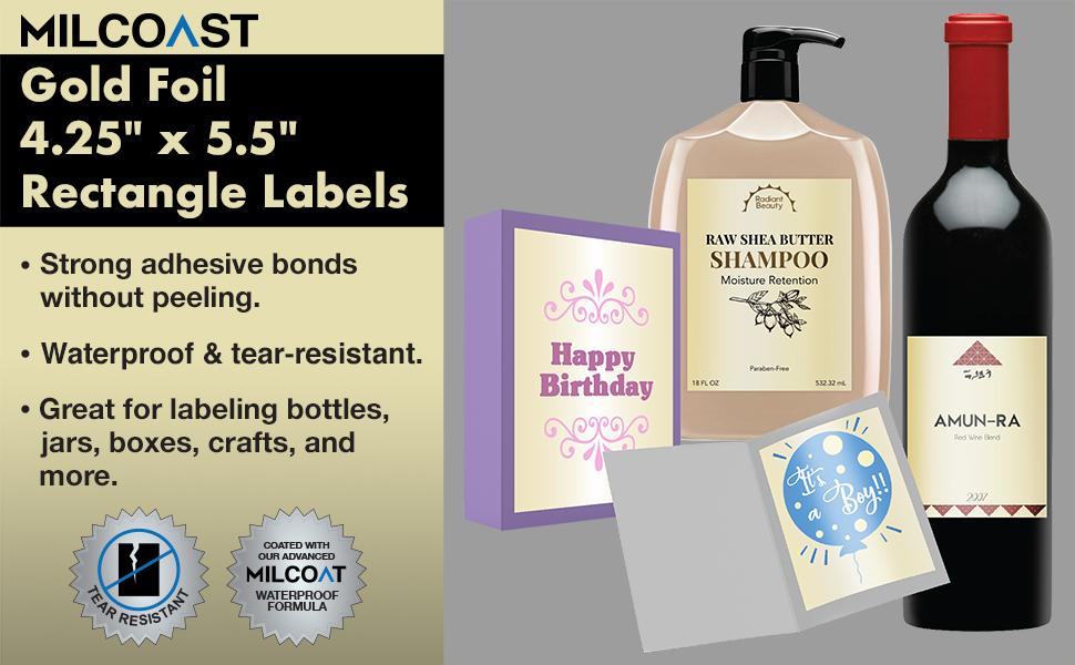 "Milcoast Gold Foil Waterproof 4.25 x 5.5/"" Rectangle Labels 80 Labels 20 Sheets"