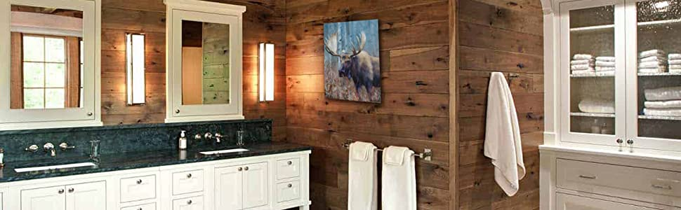 Fall Moose Study Staging Amazon Banner home decor rustic themed bathroom