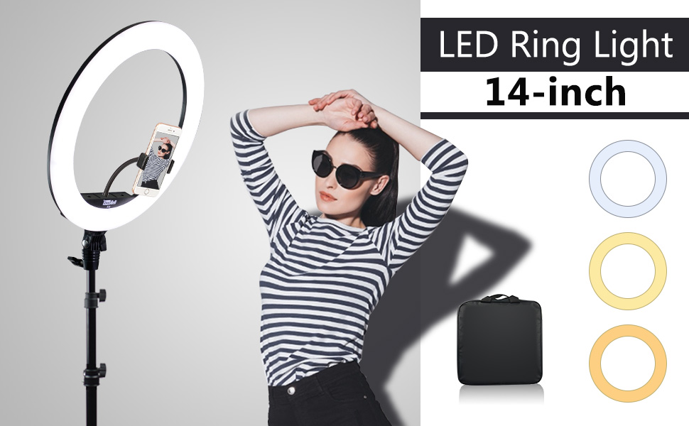 """banner of 14"""" LED Ring light with tripod stand"""