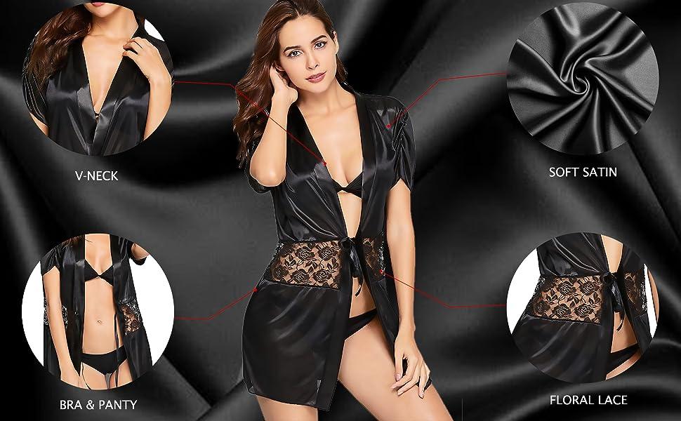women satin nightwear robe with bra panty set sexy satin nightwear lingerie set