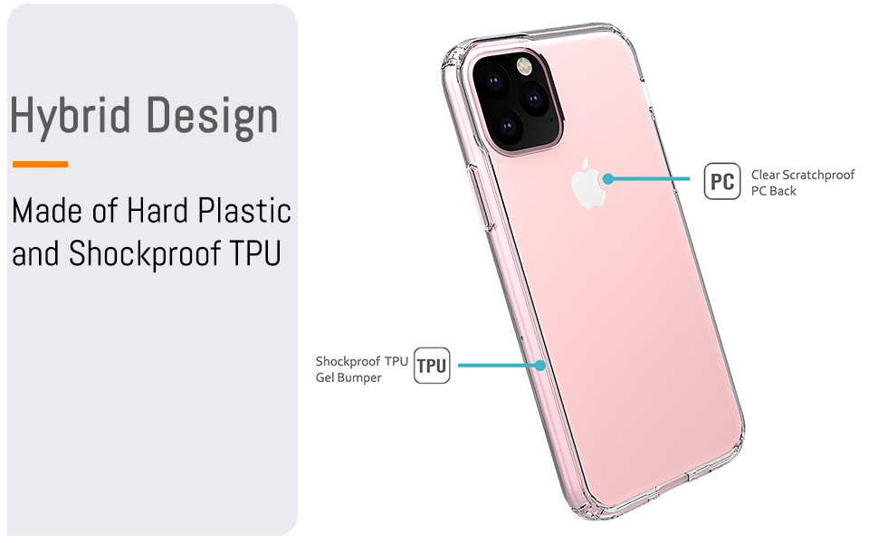 """iPhone 11 Pro 5.8"""" inch Hybrid Design  Made of Hard Plastic and Soft TPU"""