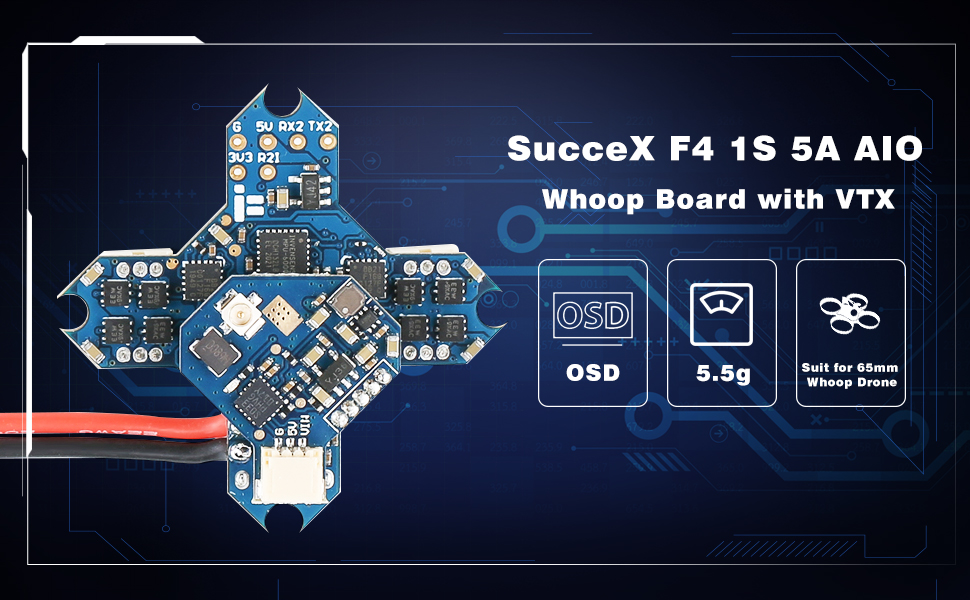 iFlight SucceX F4 1S 5A AIO Whoop Board with VTX for 1s Micro Whoop Drone MPU6000