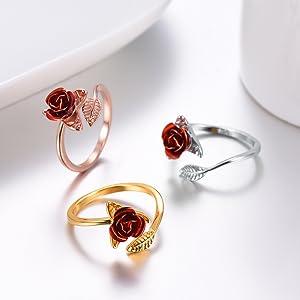 single rose rings open style