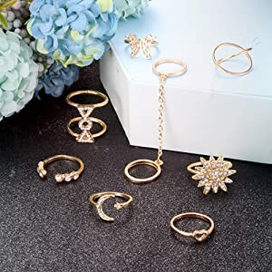 70PCS Knuckle Rings for Women