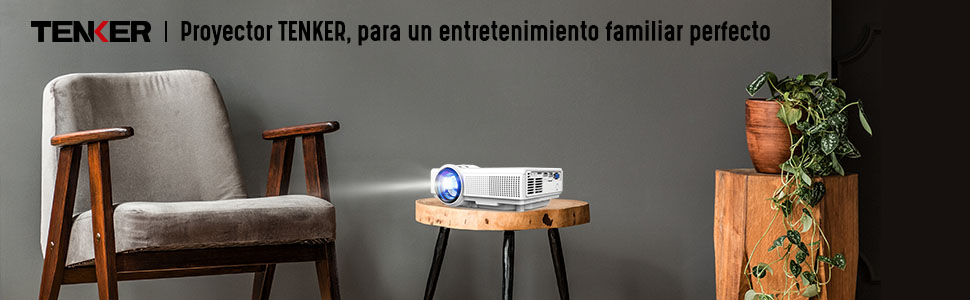 Proyector, TENKER Q5 Mini proyector de video + 20% lúmenes Full HD ...