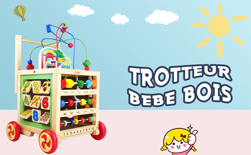 Jouets Porteur Bebe Trotteur B/éb/és /Éducatifs 7 en 1 Premiers Pas Trotteur Bebe Jouets en Bois Cube dActivit/é pour Fille Gar/çon 1 2 3 Ans