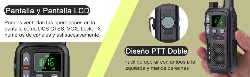 walkie talkie con doble ptt