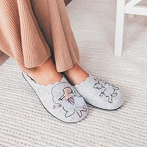 Marpen Pantofole da casa Slippers Comode Pantofole Feltro Suola Gomma Originali Divertente