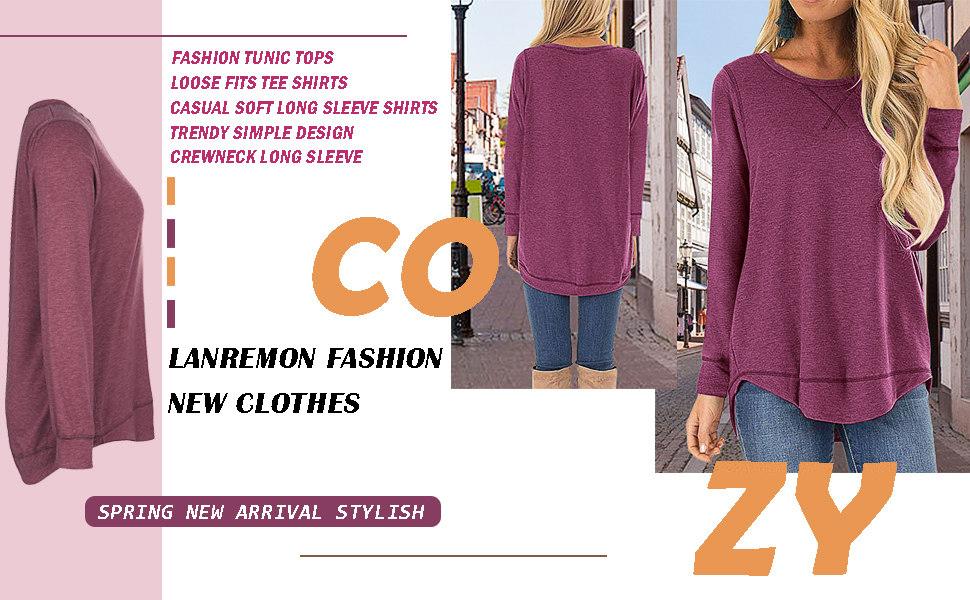 Tunic Blouse for Women Women's Tunic Top Casual Cotton O Neck Long Sleeve fall winter T-Shirt Top