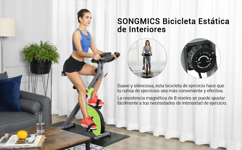 SONGMICS Bicicleta Estática, Bicicleta Fitness, Entrenador ...
