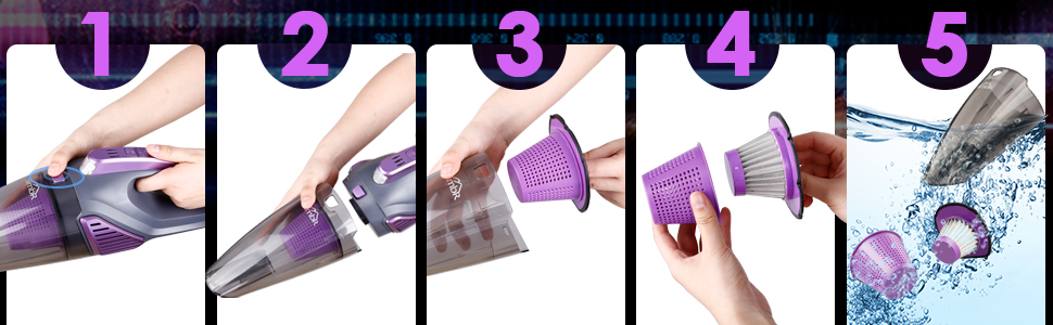 Handheld Vacuum Cordless cleaner pet hair home car rechargeable black