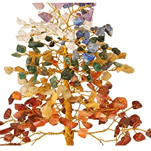 gemstone wooden base tree crocon seven chakra crystal gift office kitchen decor