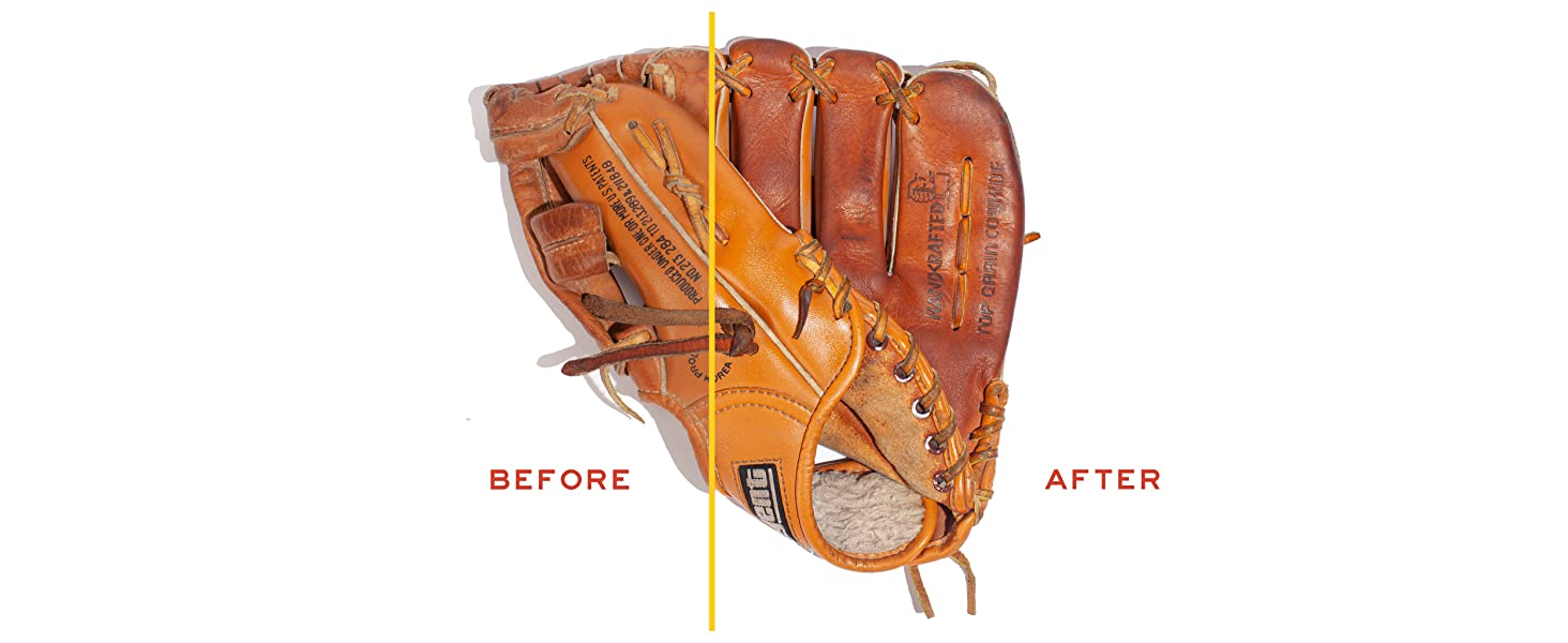 before and after baseball glove
