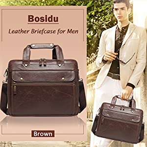 MIJNUX Business Mens Briefcase Leather Mens Bag Mens Handbag Mens Crossbody Leather Briefcase Lawyer