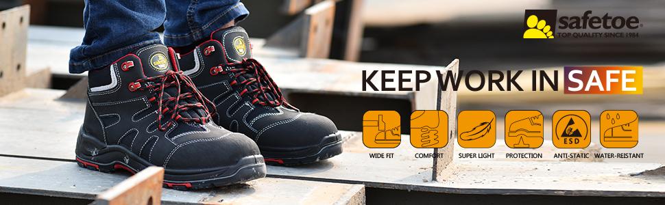 Botas de Seguridad Hombre Trabajo con Suela Antideslizante CE S3 8350 Calzado de Protecci/ón con Puntera Composite