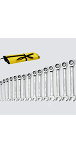 15-Piece Metric Ratcheting Combination Wrench Set