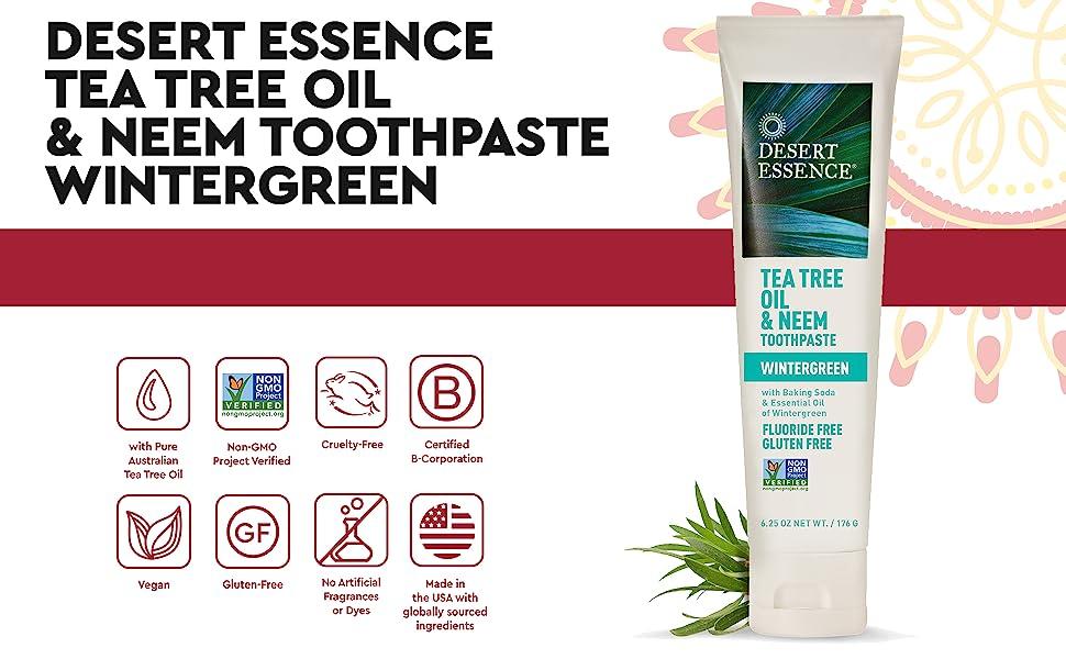 Desert Essence Toothpaste, Winter Green Tea Tree Oil Neem Toothpaste