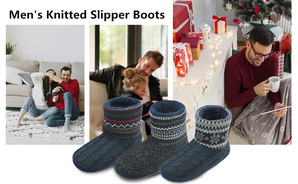 mens slipper boots booties indoor
