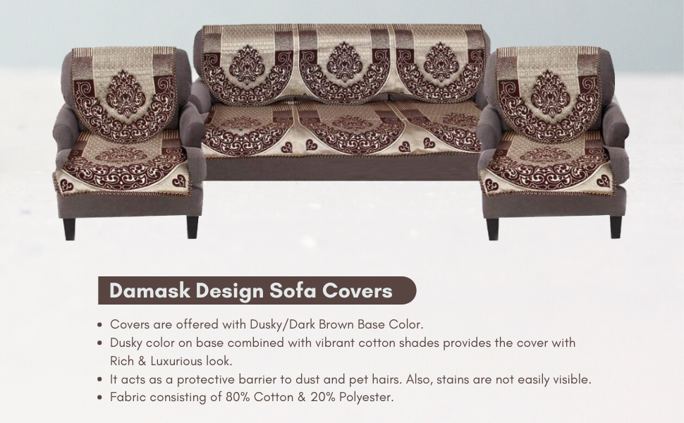 Damask Design 5 Seater Cotton Sofa Covers