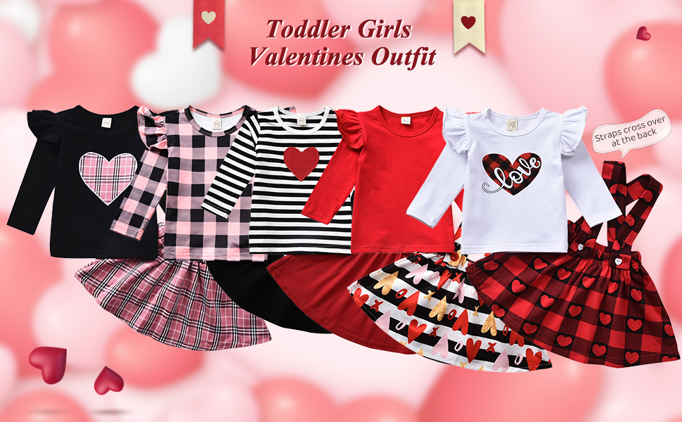 Toddler Baby Girls Valentines Day Outfits Suspender Skirt Love Heart Print Skirt