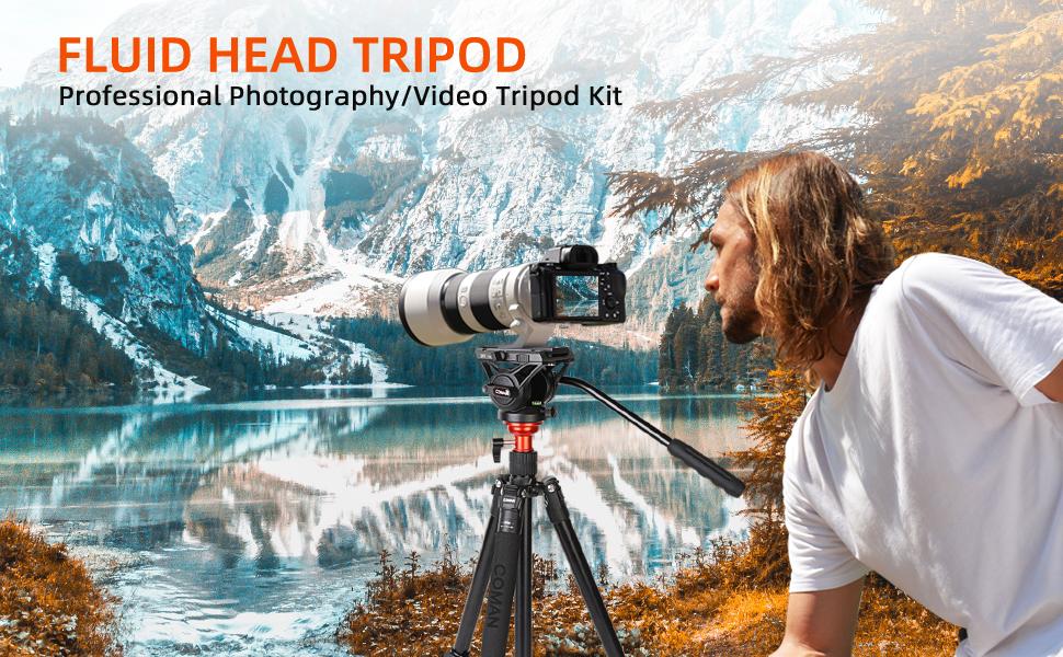 COMAN Video Fluid Head Tripod