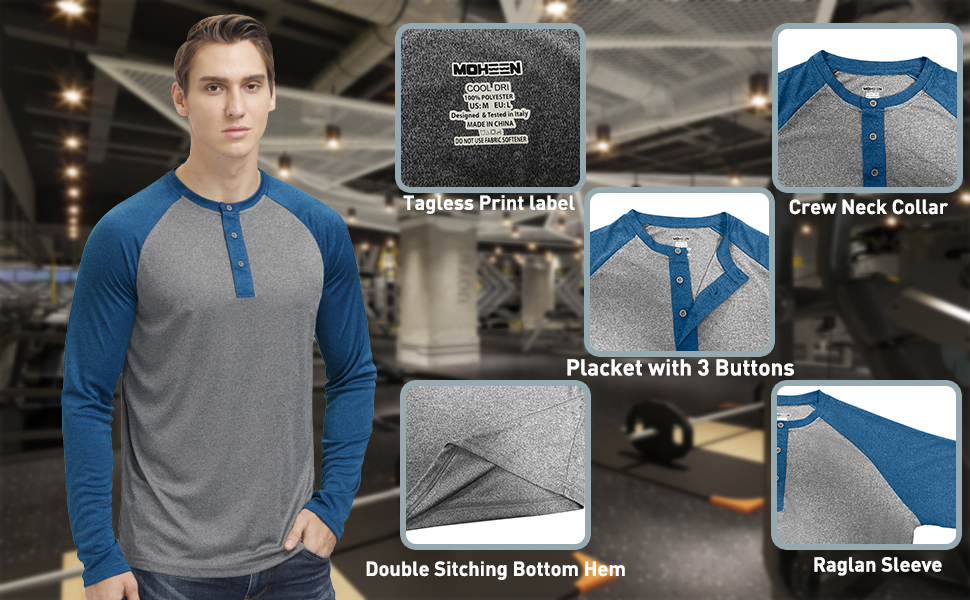 Men's T-Shirts Long Sleeve Moisture Wicking Performance Classic Cut Casual Athletic Shirts