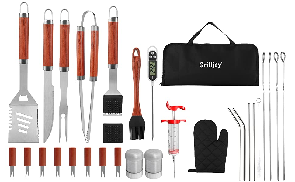 BBQ Grill Tools Set with ometer and Meat Injector 30 Pcs