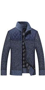 Vcansion Men's Full Zip Up Thick Fleece Lined Hoodie Cardigan Sweaters with Pockets