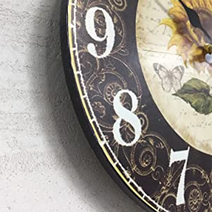 Thicken MDF Wood Sunflower Clocks Retro French Tuscan Rustic Country Table Desktop Decor