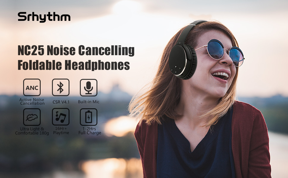 Foldable noise cancelling headphones