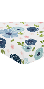 Navy Blue and Pink Watercolor Floral Girl Fitted Crib Sheet Baby or Toddler Bed Nursery