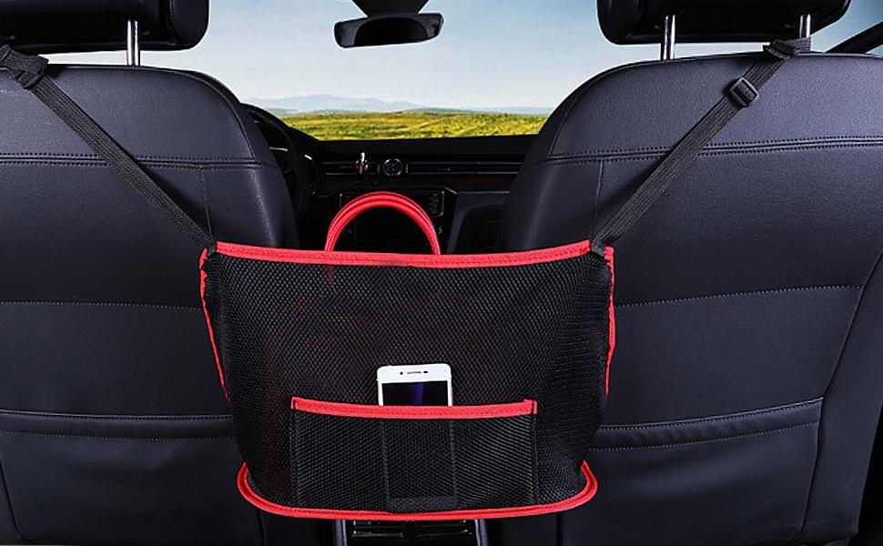 car accessories bag holder net for car between front seats mesh organizer