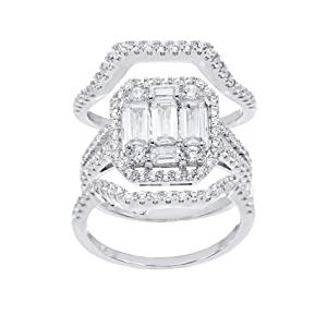 Three Set Baguette Cut Halo Set Cubic Zirconia Wedding Set Ring, Sterling Silver