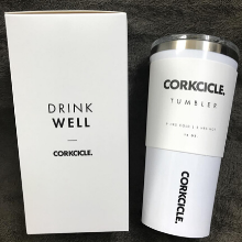 CORKCICLE TUMBLER INSULATED STAINLESS STEEL WHITE MUG CUP TRAVEL COFFEE BEVERAGE MUG