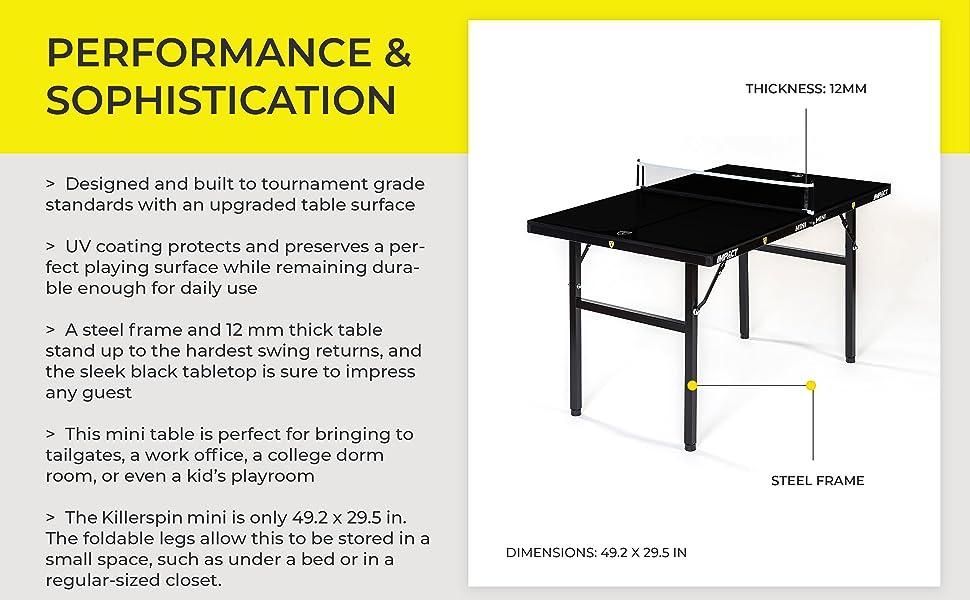 impact mini deep chocolate adjustable mini indoor tennis table for smaller spaces
