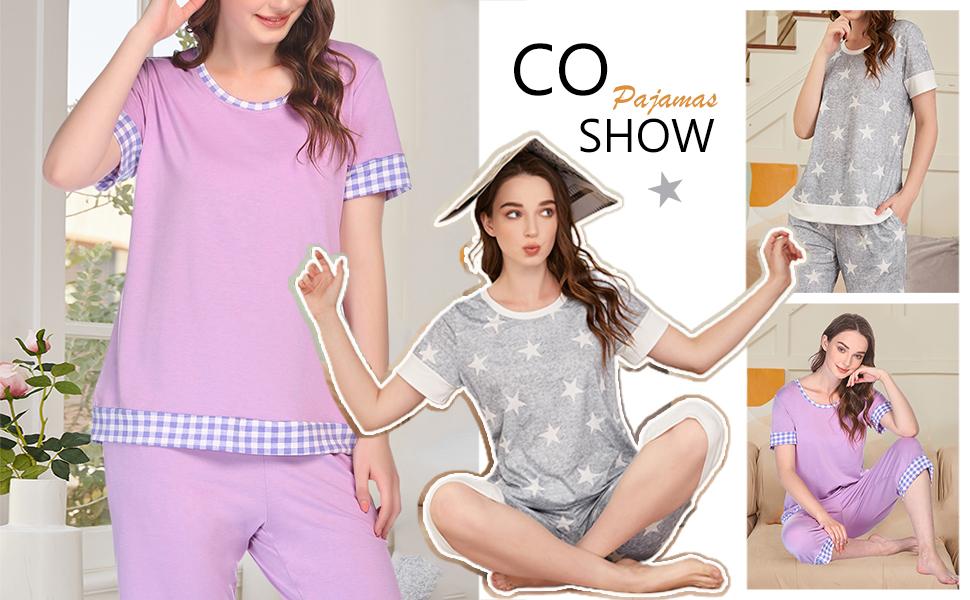 Womens short sleeve pajama set