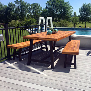 outdoor wood table set